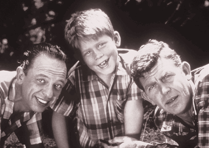 "Cast members from ""The Andy Griffith Show,"" from left: Don Knotts as Deputy Barney Fife, Ron Howard as Opie Taylor and Andy Griffith as Sheriff Andy Taylor."