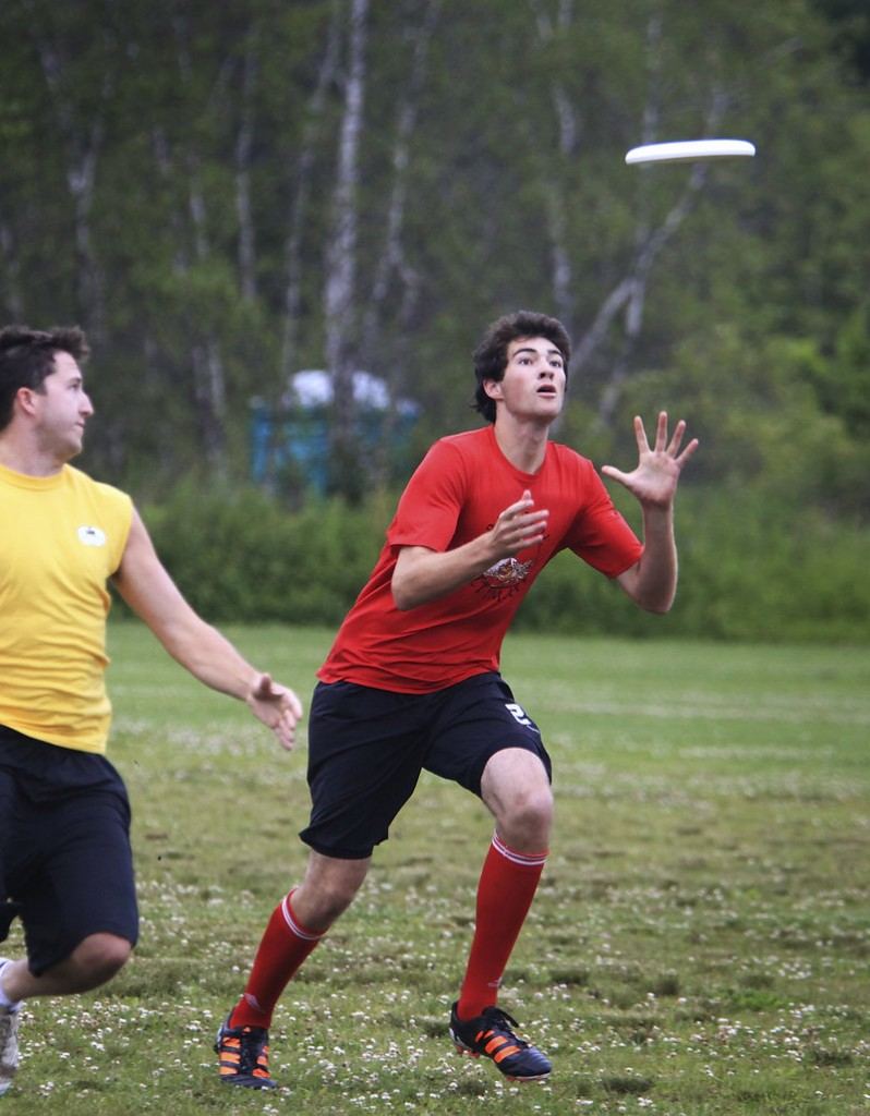 Thomas Robinson of Cape Elizabeth goes for the catch for the Rising Tide, who are preparing for a national ultimate Frisbee youth tournament.