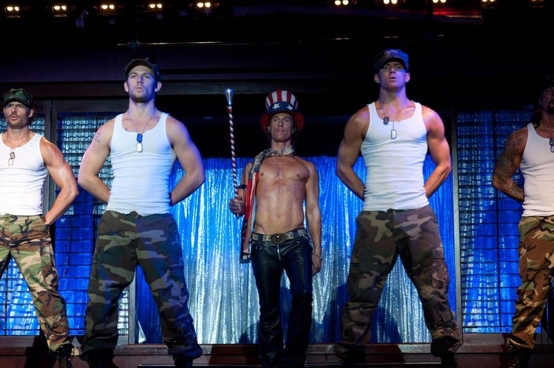 "Alex Pettyfer, left, Matthew McConaughey and Channing Tatum strut their stuff to good effect in ""Magic Mike."""