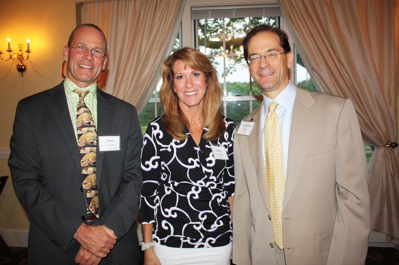Don Perkins, president of Gulf of Maine Research Institute, Betsy Richards, corporate communications manager for Idexx, and Jonathan Ayers, chairman, president and CEO of Idexx.