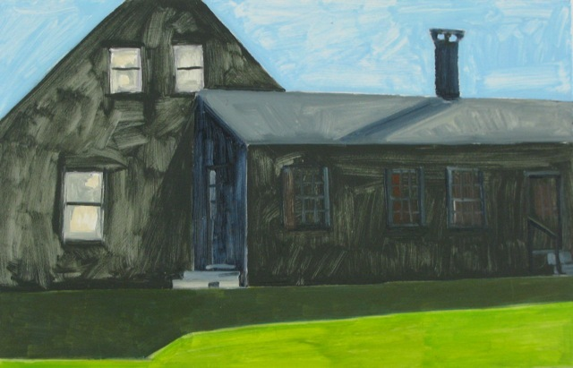 """The Black House at Van Campen"" by Lois Dodd."