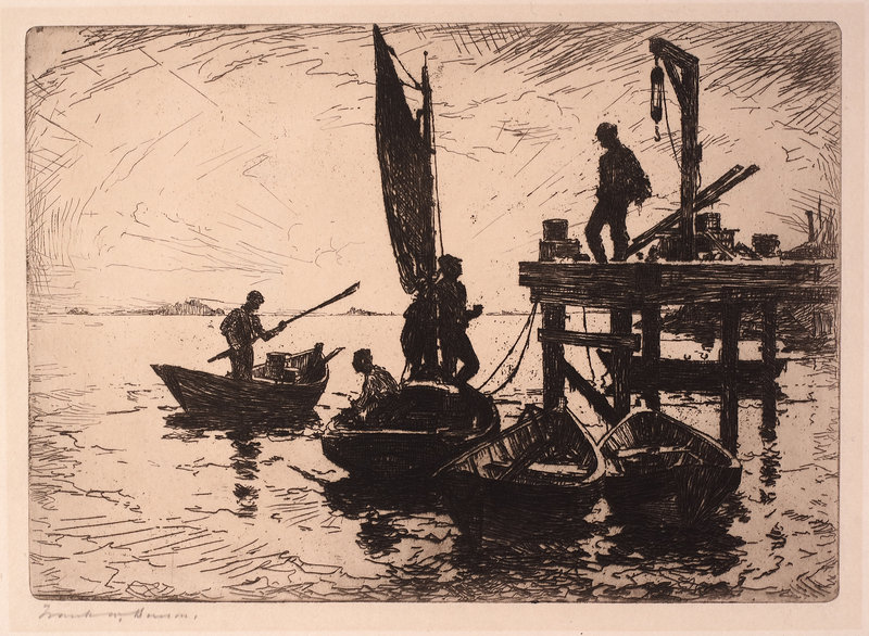 """Boats at Dawn,"" etching, 1920"