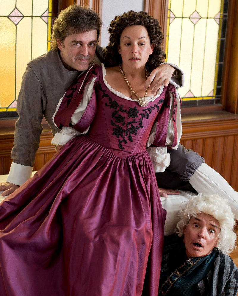 """James Noel Hoban, Brooke Edwards and Mark S. Cartier in the Theater and Monmouth's """"Tartuffe,"""" which opens this week."""