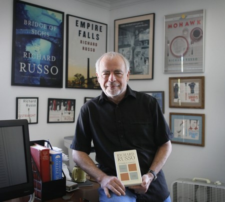 "Richard Russo with ""Interventions,"" his new book, which features art by his daughter, Kate Russo."