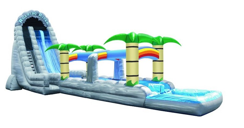 The Roaring River Waterslide is 65 feet long, 27 feet high and weighs 900 pounds before any water is even added. Blast Party Rentals in Eliot rents one for $745.