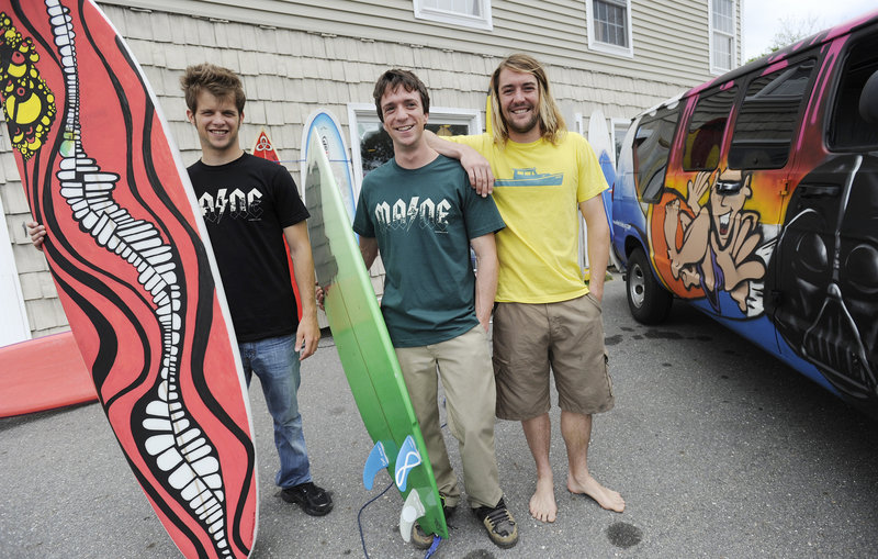 Brett Dobrovolny, 23, Ryan McDermott, 25, and Andy McDermott, 28, are the team behind Black Point Surf Shop.
