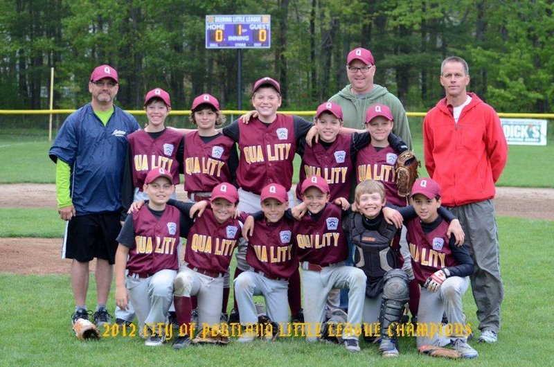 Members, from left to right, of Deering Little League's Quality Shop team, which recently beat Giroux Energy to win the city championship. Front row: Pasquale Lapomarda, Jacob Freedman, Henry Westphal, Caleb Delano, Griffin Watson and Vinnie Pasquali; Second row: Manager Scott Watson, Ryan Breece, Luc Harrison, Robby Blanchard, Keller Nicolai, Jack Lynch and Coach Rolf Westphal; Back: Coach Jeff Breece.