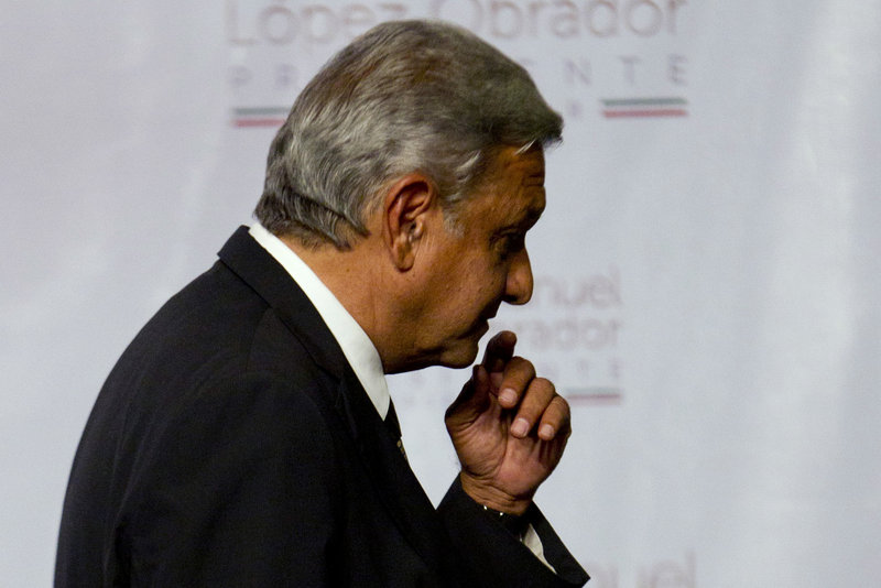 Mexican presidential candidate Andres Manuel Lopez Obrador of the Democratic Revolution Party said he won't concede the presidency despite an official preliminary count that shows him losing to Enrique Pena Nieto of the Institutional Revolutionary Party.