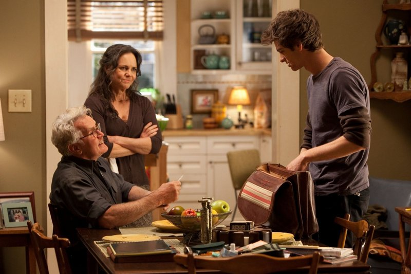 Martin Sheen and Sally Field play Parker's well-intentioned uncle and aunt.