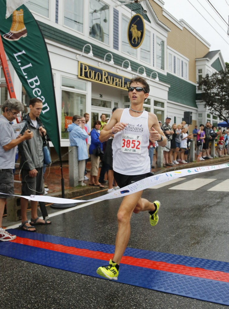 Jonny Wilson of Falmouth wasn't able to get the race record he sought, but still finished more than a minute ahead of anyone else in the L.L. Bean road race Wednesday.