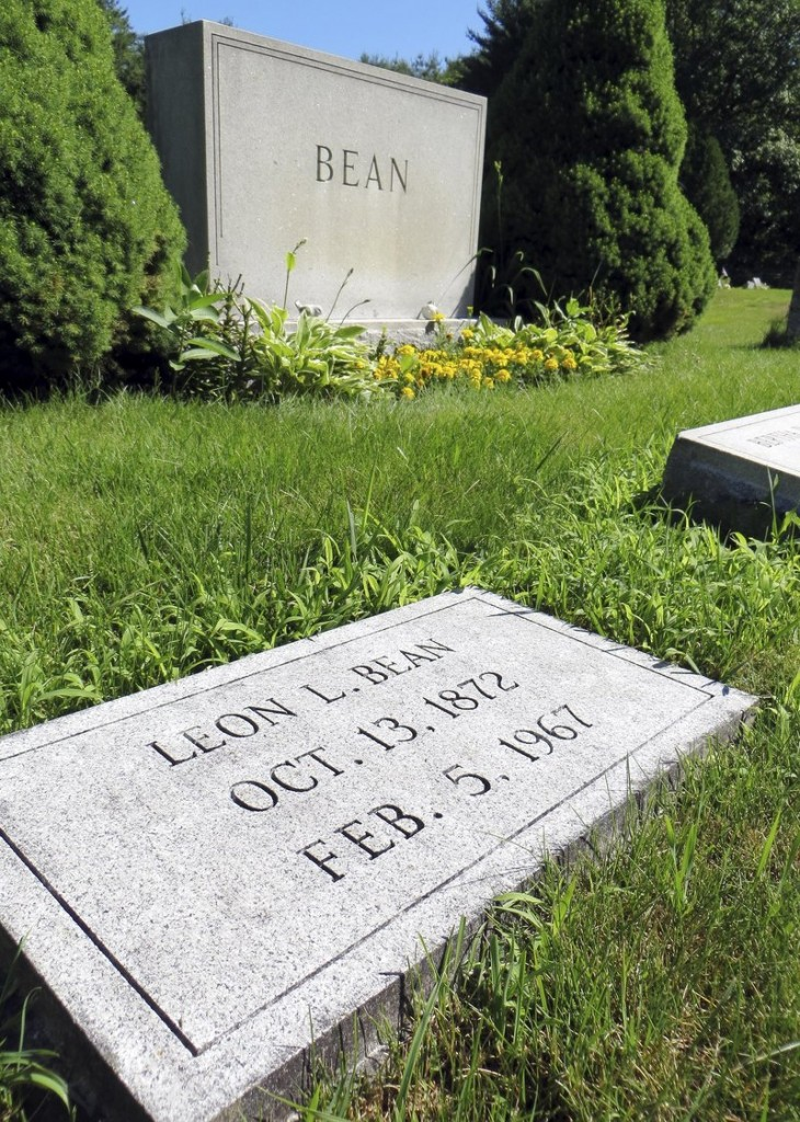 This photo taken Tuesday shows a grave marker at Webster Cemetery in Freeport for Leon L. Bean, the founder of the famous outdoors outfitter in Freeport.