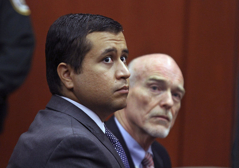George Zimmerman, left, and attorney Don West appear before Circuit Judge Kenneth R. Lester Jr. during a bond hearing last month.