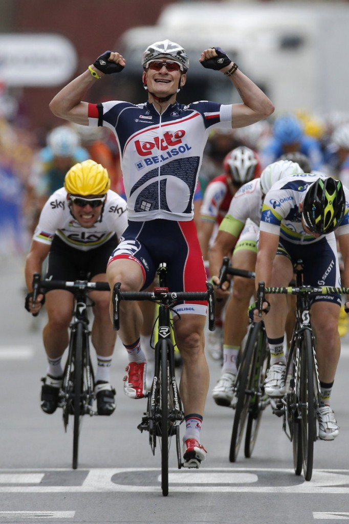 Andre Greipel crosses the finish line ahead of Mark Cavendish, left, and Matthew Harley Gross to win the fifth stage of the Tour de France.
