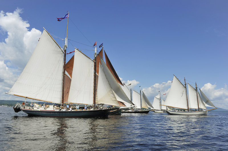 Schooners in the leeward class cross the starting line on Friday in Rockland in the Great Schooner Race. Nineteen schooners in four classes raced in the friendly competition from the Rockland Breakwater to Camden Harbor.