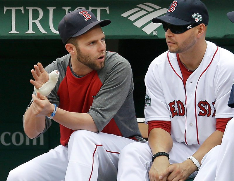 Dustin Pedroia, left, can only sit and watch with his thumb injury as Cody Ross and the rest of the team lead the charge on a Red Sox season that continues to go nowhere.