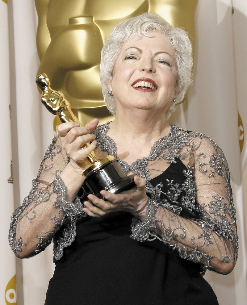 "Film editor Thelma Schoonmaker with her 2007 Oscar for ""The Departed."""