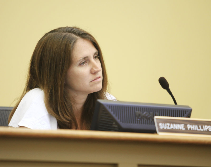 Suzanne Phillips, seen Tuesday at a Gorham Town Council meeting, has pleaded not guilty to driving drunk and leaving an accident.