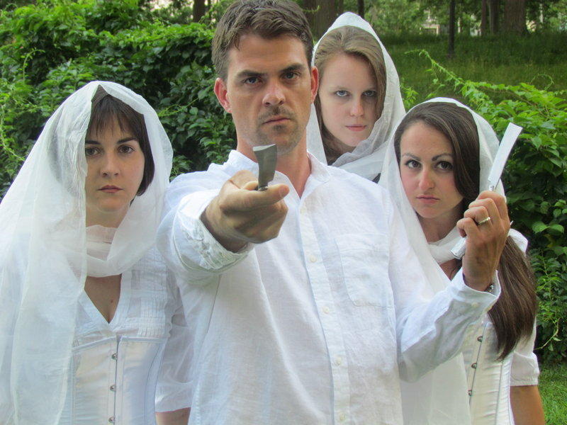 """Rob Cameron and, from left, Molly W.B. Roberts, Brittany Cook and Allison McCall in the Fenix Theatre Co. production of """"Macbeth,"""" opening this week."""