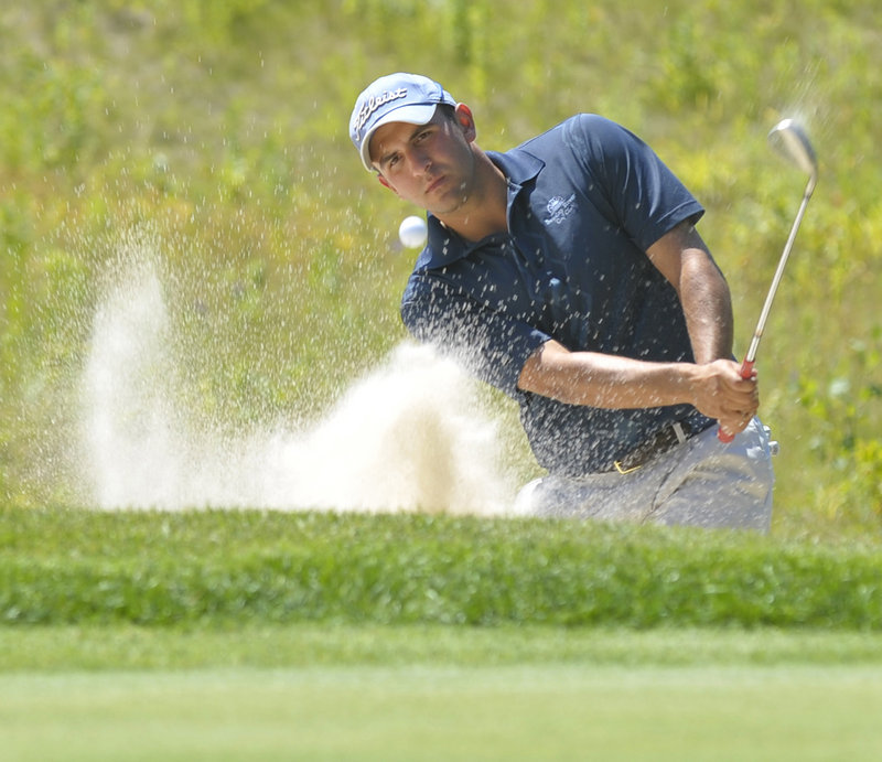 J.J. Harris, who finished as the Maine Amateur runner-up for the second consecutive year, blasts out of a greenside bunker on the 16th hole and made bogey.