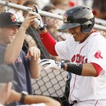 Reynaldo Rodriguez gets congratulated after hitting a two-run homer in the fifth inning Saturday night during the Sea Dogs' 9-1 win over the Fisher Cats at Hadlock Field.