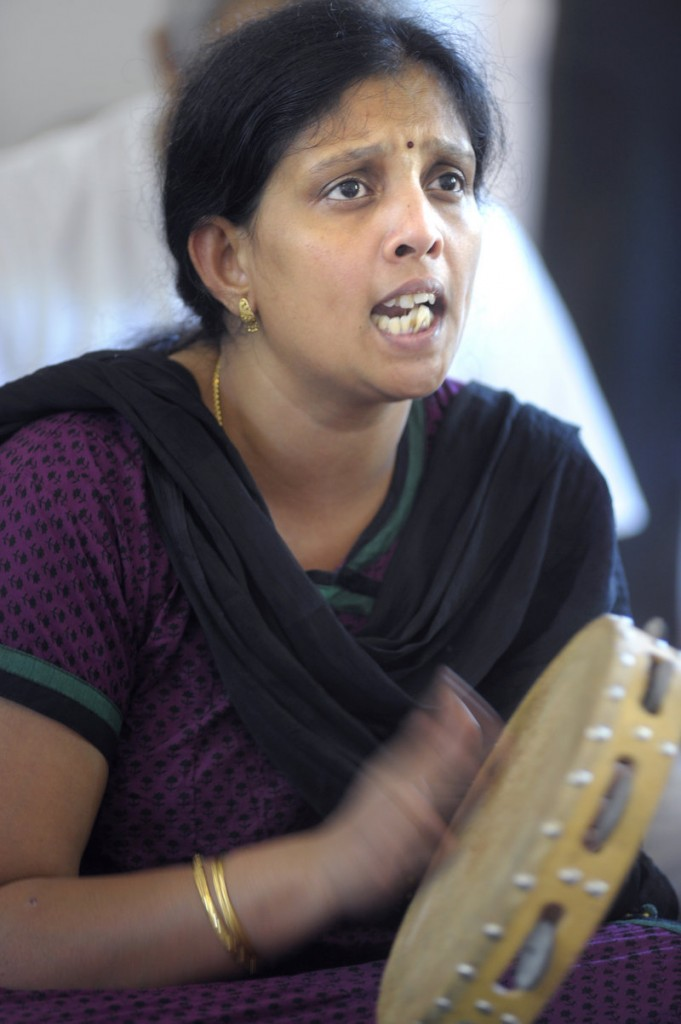 Sreevally Challapalli of Scarborough sings at the new Maine Hindu Temple.