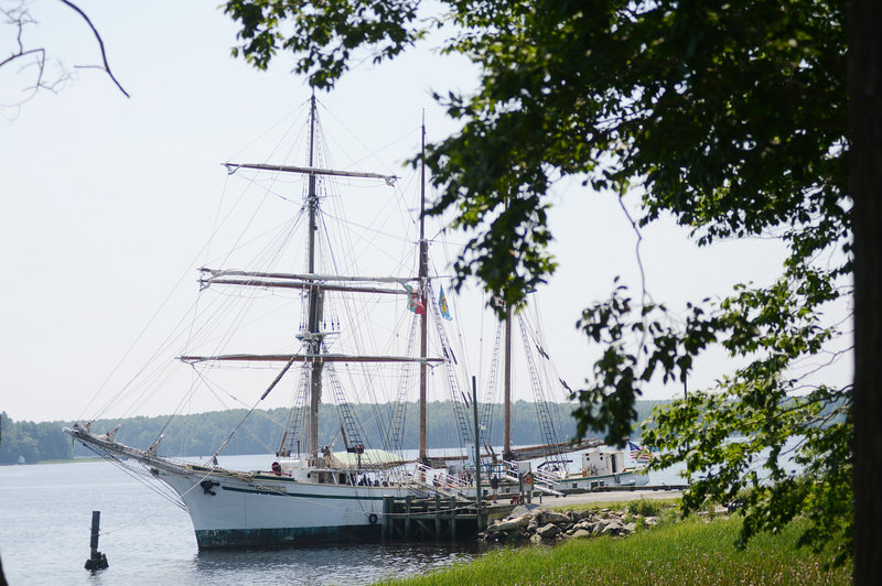 The square-rigged wooden sailing ship Gazela Primeiro floats dockside at the Maine Maritime Museum in Bath on Sunday. The Gazela, the oldest active ship of its kind in the U.S., was asked to visit as part of the museum's 50th anniversary celebration.