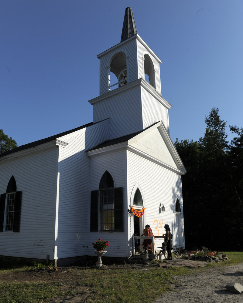The former First Universalist Church of Scarborough and South Buxton is now the Maine Hindu Temple, the first community temple in Maine.