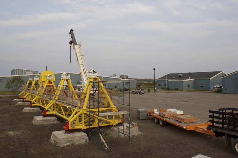 Ocean Renewable Power Co.'s unit awaits installation of turbines. Tidal technologies are inspired by wind turbines and require no dam. The devices are mounted on the sea floor, where they spin in the current, out of sight and well beneath the hulls of passing vessels.