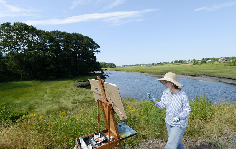 Janet Sutherland of Ipswich, Mass., paints the scenery along the Spurwink River in Cape Elizabeth on Sunday. She was among 32 artists who took part in the Cape Elizabeth Land Trust's Paint for Preservation Wet Paint Auction.