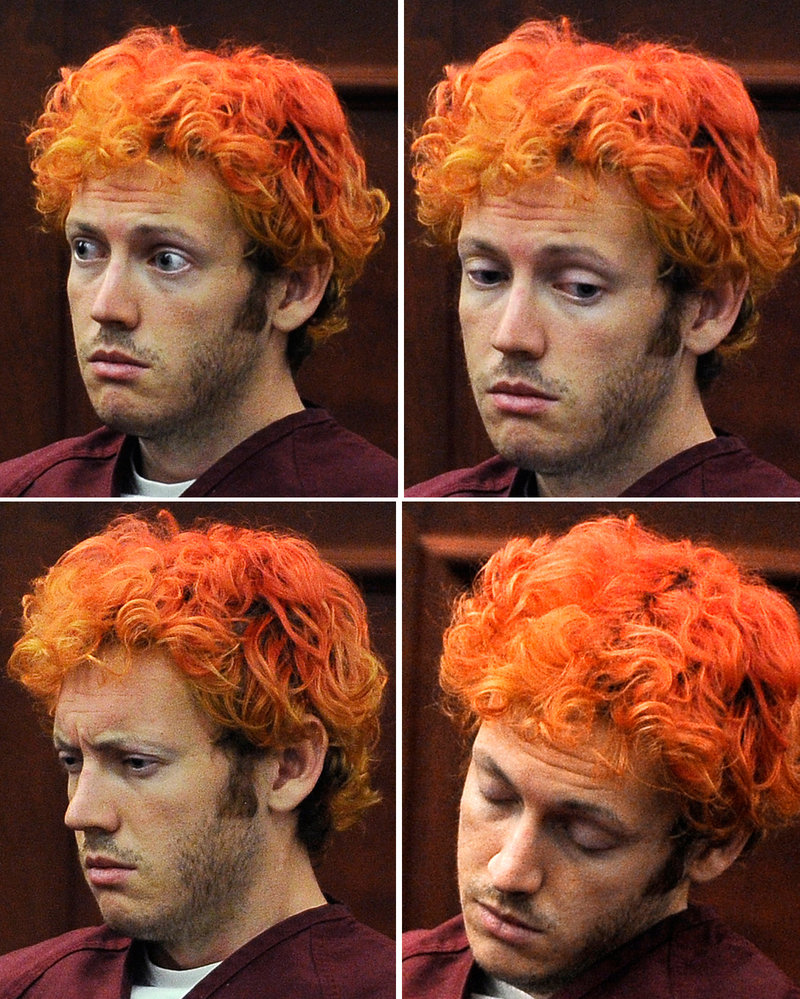 These photos show a variety of expressions on the face of James E. Holmes during his appearance at Arapahoe County District Court on Monday in Centennial, Colo.