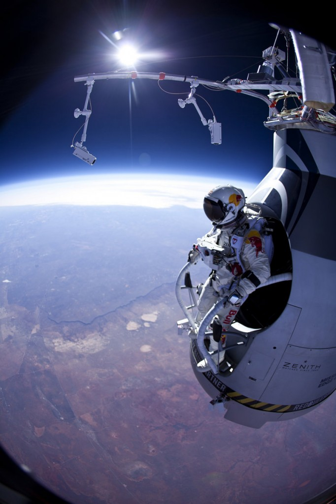 """""""Fearless Felix"""" Baumgartner prepares to jump March 15 over Roswell, N.M. He wears a full-pressure suit equipped with parachutes and an oxygen supply."""