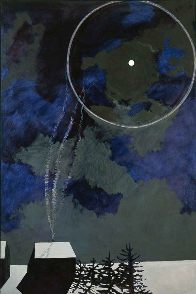 """Moon Ring"" by Lois Dodd, oil on canvas"