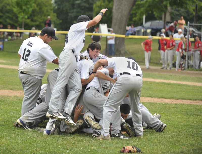 Pile-on time arrived Thursday for Portland after it captured the Babe Ruth state title for 13- to 15-year-olds with a 3-2 victory against Southern York at Deering Oaks. Portland will play in the New England tournament in August.