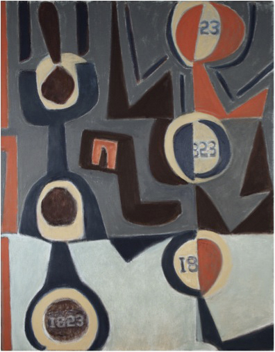 """Robert Indiana's """"Electi"""" 1960-1961 oil on canvas, Portland Museum of Art, Maine, gift of the artist"""