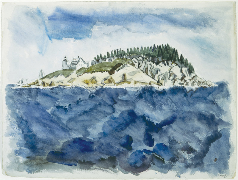 "John Marin's ""Deer Isle Series: Mark Island Lighthouse, 1928,"" watercolor on paper, Portland Museum of Art, gift of Mr. and Mrs. John Marin Jr."