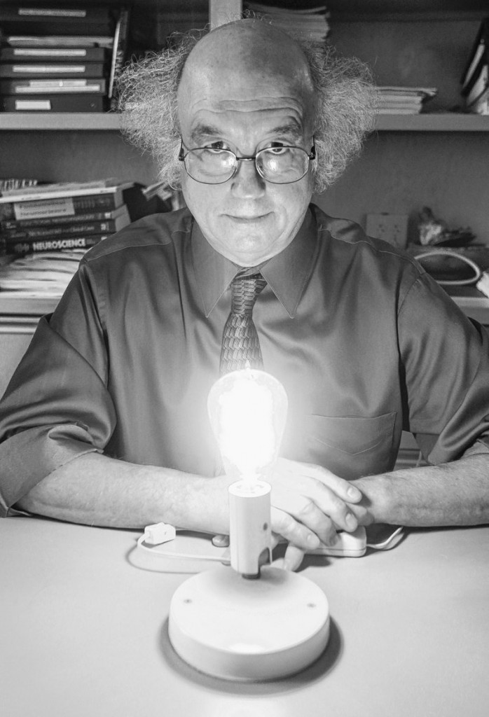 Dr. George Brainard displays an Edison-style incandescent bulb at Thomas Jefferson University, where he researches light's effects on astronauts and sleep. His new LED lights will have three settings.