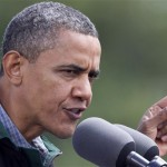 President Barack Obama speaks during a campaign stop in Council Bluffs, Iowa, Monday, Aug. 13, 2012. (AP Photo/Nati Harnik)