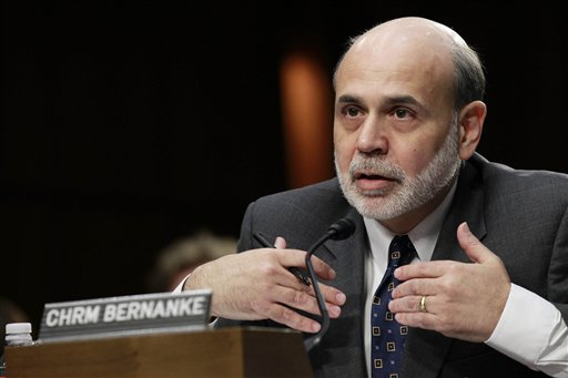 """Federal Reserve Board Chairman Ben Bernanke: """"Unless the economy begins to grow more quickly than it has recently, the unemployment rate is likely to remain far above levels consistent with maximum employment for some time."""""""