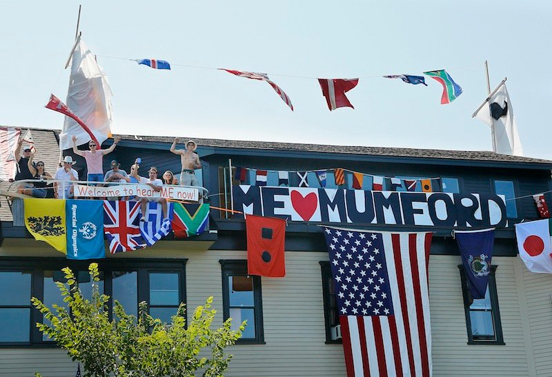 "Friends helped turn the home of Nance Monaghan into a boat in hopes of winning a house-decorating contest on Munjoy Hill for the ""Gentleman of the Road"" music festival. The winner of the contest supposedly gets Mumford and Sons in their living room following the concert."
