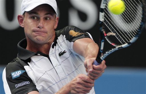 Andy Roddick of the United States returns a ball to Robin Haase of the Netherlands during their first round match at the Australian Open tennis championship, in Melbourne, Australia, Tuesday, Jan. 17, 2012. Roddick says he'll retire after the U.S. Open. (AP Photo/Rick Rycroft)
