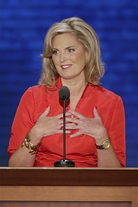 Ann Romney, wife of U.S. Republican presidential candidate Mitt Romney addresses the Republican National Convention in Tampa, Fla. on Tuesday, Aug. 28, 2012. (AP Photo/J. Scott Applewhite)