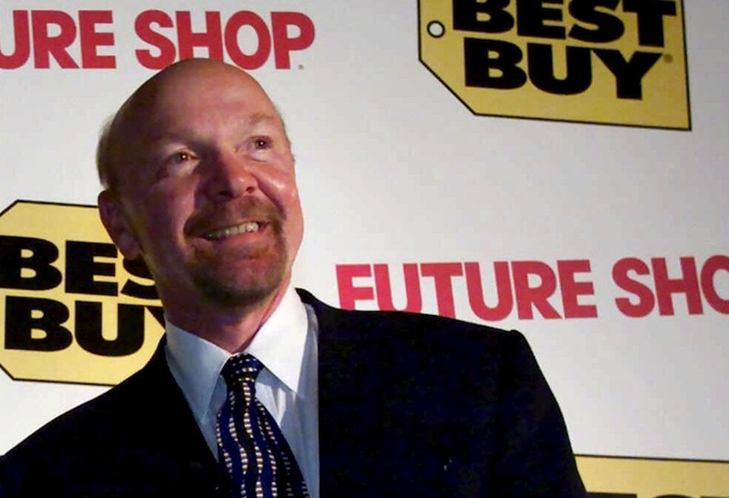 This Tuesday, Aug. 14, 2001 file photo shows Richard Schulze following a news conference in Vancouver, British Columbia. Best Buy founder Schulze said Monday, Aug. 6, 2012, that he wants to take the electronics retailer private by buying up all of its shares he doesn't already own in a deal that values the company at as much as $8.84 billion. (AP Photo/The Canadian Press, Chuck Stoody, File)