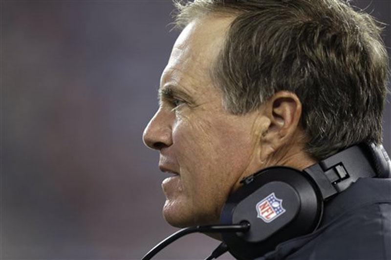 New England Patriots head coach Bill Belichick watches a play against the Philadelphia Eagles during the first quarter of an NFL preseason football game in Foxborough, Mass., Monday, Aug. 20, 2012. (AP Photo/Elise Amendola)