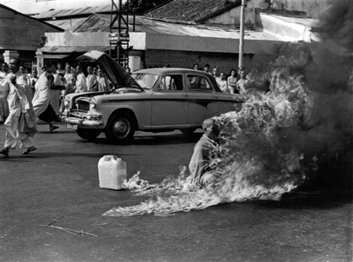 In this June 11, 1963 photo, Thich Quang Duc, a Buddhist Monk sets himself on fire in Saigon to protest against the pro-Catholic Diem regime. Malcolm W. Browne, the former Associated Press correspondent who made the photo and was acclaimed for his trenchant reporting of the Vietnam War, has died. He was 81. (AP Photo/Malcolm Browne, File)
