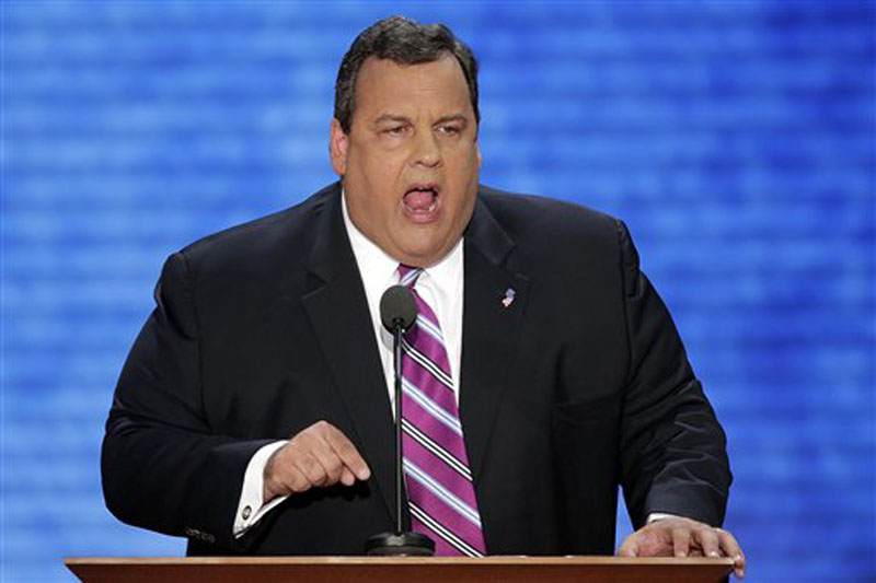 New Jersey Governor Chris Christie addresses the Republican National Convention in Tampa, Fla. on Tuesday, Aug. 28, 2012. (AP Photo/J. Scott Applwhite)