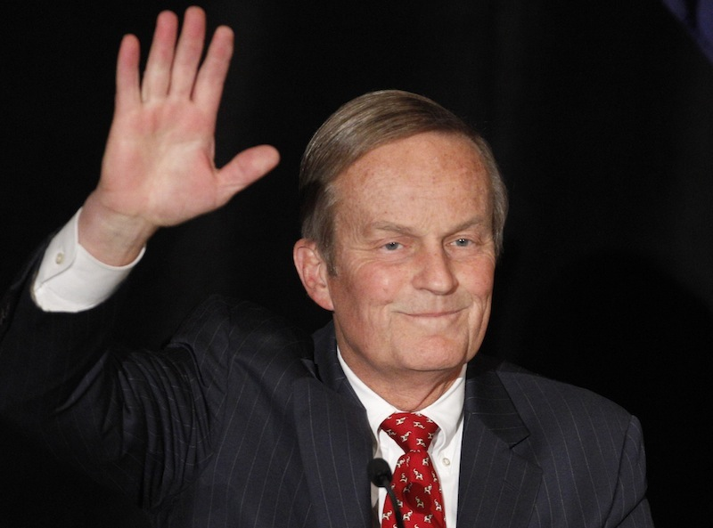 In this Feb 18, 2012 file photo, Senate candidate Rep. Todd Akin, R-Missouri, waves to the crowd while introduced at a senate candidate forum during a Republican conference in Kansas City, Mo. The two losing candidates in the Republican primary for Missouri's U.S. Senate seat are getting renewed attention after Akin's comments about rape on Sunday, Aug. 19, 2012. (AP Photo/Orlin Wagner, file)