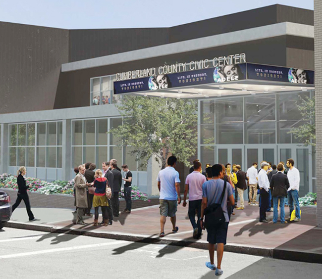 Artist's rendering of Cumberland County Civic Center's future Free Street entrance, where construction is starting.