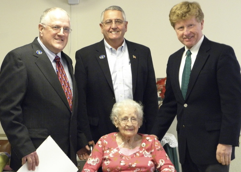 Dolly Ingalls, the most recent owner of Windham's Boston Post cane, is shown with, from left, state Reps. Mark Bryant and Gary Plummer and state Sen. Bill Diamond. Ingalls, who died in March at age 102, was proud to receive the cane and liked showing it to visitors.