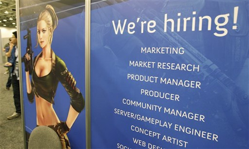 In this photo, Tencent America job booth is shown at the Game Developers Conference in San Francisco. Unemployment fell from 7.5 percent to 7.2 percent in Maine in June. (AP Photo/Paul Sakuma)