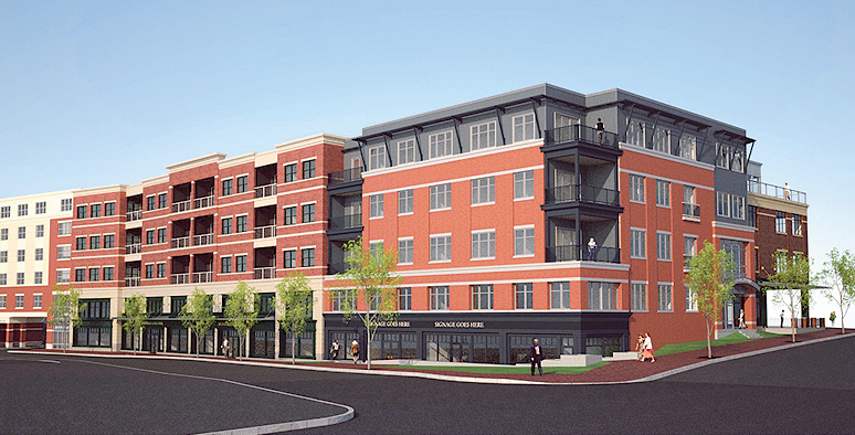 An artist's rendering of an $18 million development planned for the former Jordan Meats site in the Old Port.